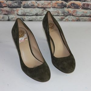 Vince Camuto Olive Green Suede Heels